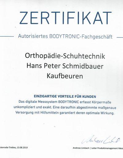 Zertifikat Autorisiertes BODYTRONIC-Fachgeschäft